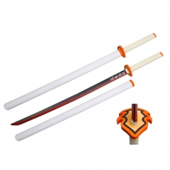 Demon Slayer: Kimetsu no Yaiba Rengoku Kyoujurou Sword PU Material Plastic Sheath Anime Foam Sword Weapon (104CM)