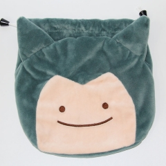 Pokemon Snorlax Japanese Cartoon Pattern Anime Drawstring Pocket Plush Bag