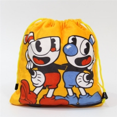 CupHead Game Cartoon Anime Plush Drawstring Pocket Bag