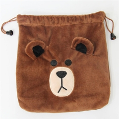Brown Bear Hot Game Cartoon Anime Plush Drawstring Pocket Bag