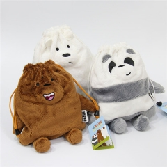 3 Styles We Bare Bears Cartoon Anime Plush Drawstring Pocket Bag