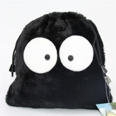 Black Cartoon Anime Plush Drawstring Pocket Bag