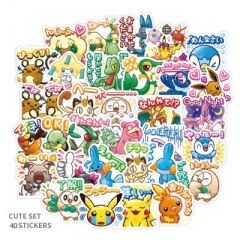 40PCS Pokemon Pattern Decorative Collectible Waterproof Anime Luggage Stickers Set