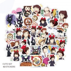 40PCS Kiki's Delivery Service Pattern Decorative Collectible Waterproof Anime Luggage Stickers Set