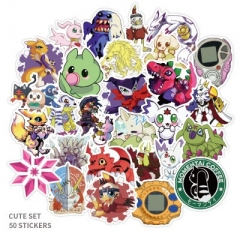 50PCS Digital Monster Pattern Decorative Collectible Waterproof Anime Luggage Stickers Set