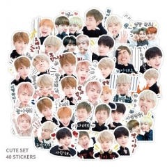 40PCS K-POP BTS Bulletproof Boy Scouts Pattern Decorative Collectible Waterproof Anime Luggage Stickers Set