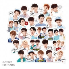 40PCS K-POP EXO Pattern Decorative Collectible Waterproof Anime Luggage Stickers Set