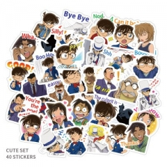 40PCS Detective Conan Pattern Decorative Collectible Waterproof Anime Luggage Stickers Set