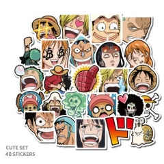40PCS One Piece Pattern Decorative Collectible Waterproof Anime Luggage Stickers Set