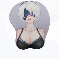 NieR: Automata 2B Character Chest Bracer 3D Silicone Anime Mouse Pad