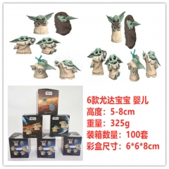 6pcs/Set Star Wars Yoda Move Anime PVC Figure Toy