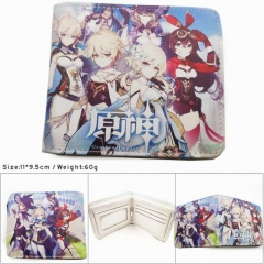 Genshin Impact Colorful Printing Anime PU Leather Fold Short Wallet