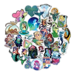 50pcs/set The Little Mermaid Characters Cartoon Waterproof Decoration Kawaii Anime PVC Luggage Stickers