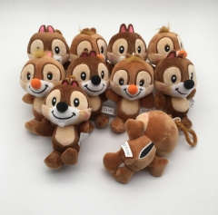 13CM 10pcs/Set Chip 'n' Dale Anime Plush Keychain
