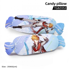 Genshin Impact Tartaglia Cartoon Cosplay Candy Shape Plush Stuffed Doll Cushion Pillow