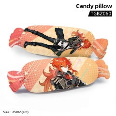 Genshin Impact Diluc Ragnvindr Cartoon Cosplay Candy Shape Plush Stuffed Doll Cushion Pillow